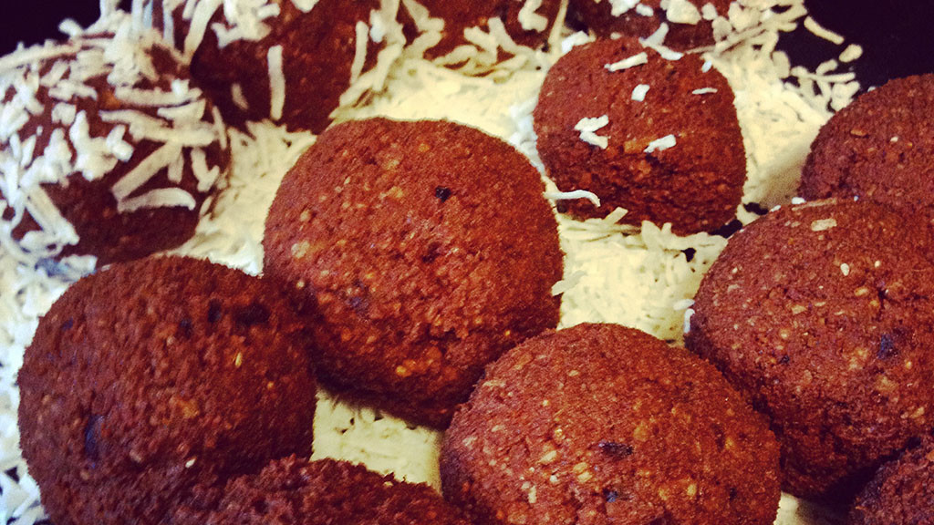 Chocolate coconut chia protein balls. Nut, Gluten and Dairy free. Super yummy.