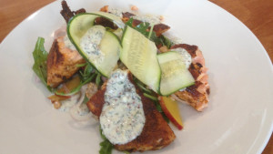 Healthy Cajun Salmon with nectarine and almond rocket salad
