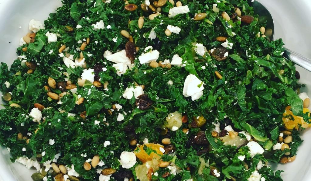 Kale, Grapefruit, Pine nut and Pumpkin seed salad